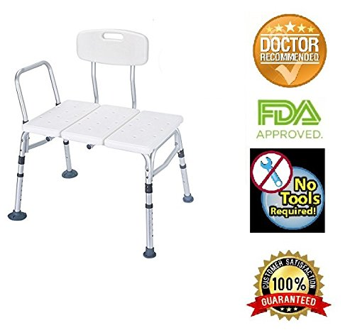 HEALTHLINE Tub Transfer Bench, Lightweight Medical Bath and Shower Chair with Back Non-Slip Seat, Bathtub Transfer Bench for Elderly and Disabled, Adjustable Height, White by HEALTHLINE