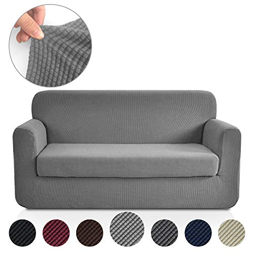(Rose Home Fashion RHF Jacquard Stretch 2-Piece Sofa Cover, 2-Piece Slipcover for Leather Couch-Polyester Spandex Sofa Slipcover&Couch Cover for Dogs, 2-Piece Sofa Protector(Loveseat: Light Grey))