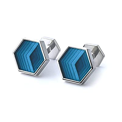 Anfly Luxury Rhodium Plated Cufflinks Wedding Business Cufflink Unique Stylish Modern Mens Mosaic Cufflinks