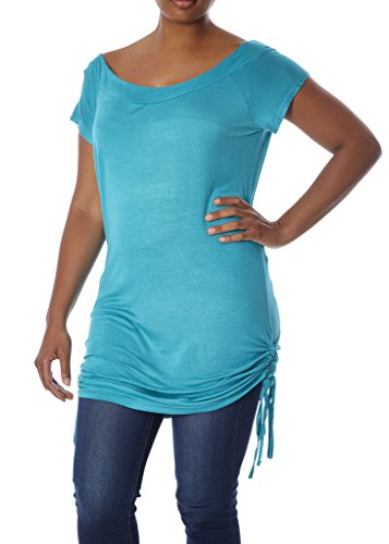 [77006XR-BLU-4X] Womens Plus Size Knit Top: Boat Neck, Ruched Sides, (Ruched Knit Top)