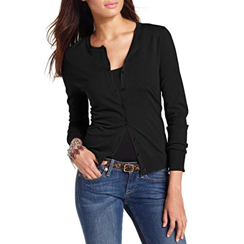 August Silk Womens Silk Blend Button Front Cardigan Sweater Black S