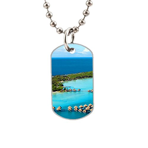 Bora Bora Island Custom Dog Tag with one side photo and the other side is smoothly alumminum surface.