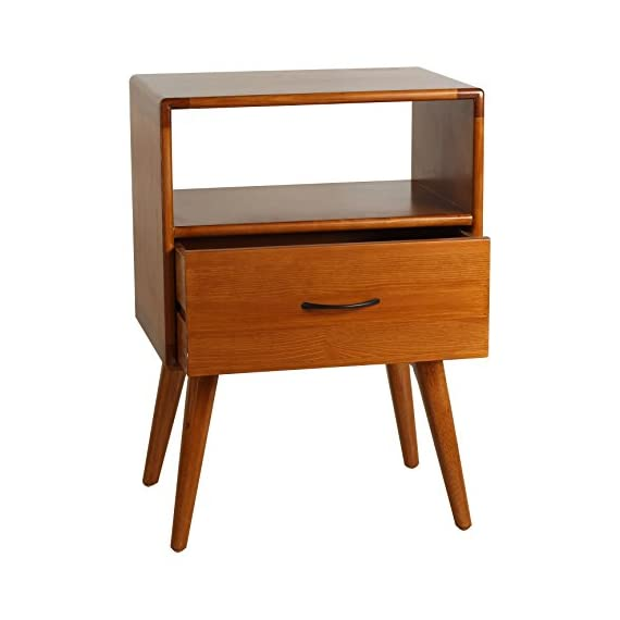 Porthos Home Andrew Mid-Century Modern End Table with Shelf and Pull-Out Drawer, Crafted from Solid Pine Wood with Walnut Finish, Suitable for Small Living Rooms and Bedrooms, One Size, Natural - [A TOUCH OF PRACTICALITY AND STYLE] the Porthos Home sofa end table features a nifty size and clean lines that make it perfect for adding a pop of color and a squeeze of storage space - attributes that make mid-century pieces such well-loved classics [COFFEE END TABLE WITH SHELF AND DRAWER] featuring a shelf and pull-out drawer, the coffee end table is a charming place where you can showcase your cherished memorabilia and organize your knickknacks so they stay out of sight but always within easy reach [CRAFTED FROM SOLID PINE WOOD WITH WALNUT FINISH] lovingly crafted from solid pine wood and complemented by hardy walnut finish, this Porthos Home wood side table is durable and a dream to incorporate into any room - living-room-furniture, living-room, end-tables - 41K2Jm0y1hL. SS570  -