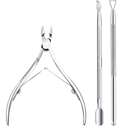 Away Cuticle Remover - Bememo Cuticle Nipper with Cuticle Pusher Stainless Steel Cuticle Remover and Cutter Beauty Tool for Fingernails and Toenails