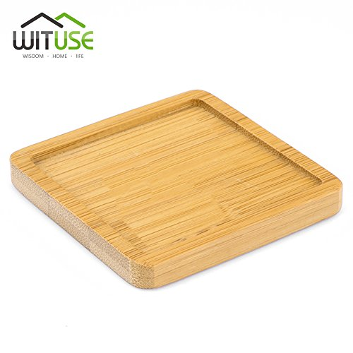 Classic Square Tray (WITUSE Chinese Bamboo Crafts Succulent Bonsai Planter Flower Box Tray Square 8cm-6pcs)