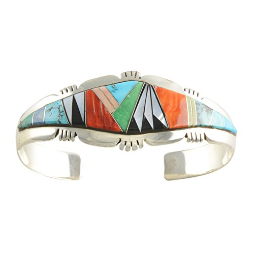 (Select Jewelry Displays Lincoln Family Turquoise Lapis Spiny Oyster & Onyx Inlay Cuff Bracelet Navajo)