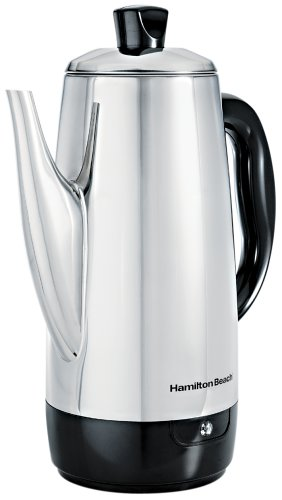 Electric Percolator Coffee Pot - Hamilton Beach 40616 Stainless-Steel 12-Cup Electric Percolator