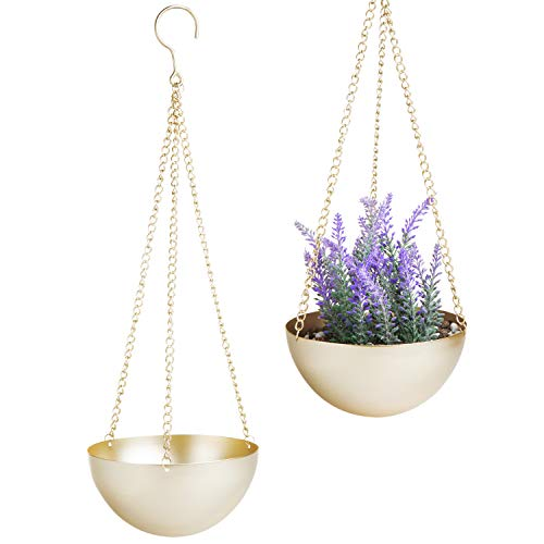 (MyGift Modern Brass Bowl Hanging Planter with Metal Chains, Set of)