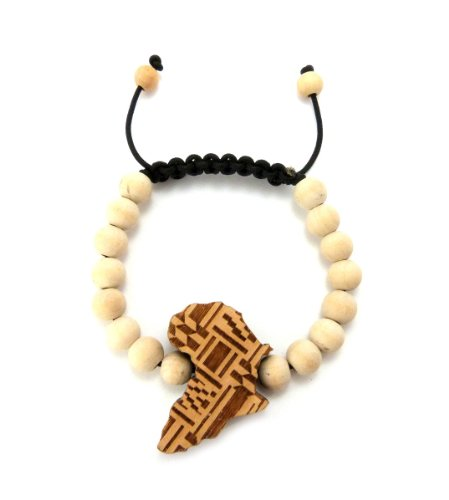 Africa Custom Pendant Wooden Bead String Bracelet, Natural by NYFASHION101