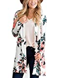 BB&KK Flower Chiffon Shawl Kimono Cardigan Coats Jackets Cover up Blouse Tops (XL, White)