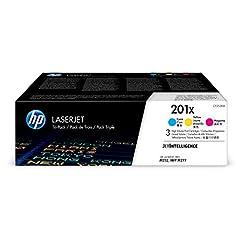 HP 201X Toner Cartridge Cyan, Yellow & Magenta High Yield, 3 Toner Cartridges (CF401X, CF402X, CF403X) for HP Color LaserJet Pro M252dw M277 MFP M277c6 M277dw MFP 277dw. HP 201X (CF253XM) toner cartridges work with HP printers: HP Color L...