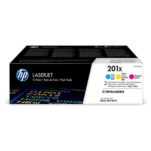 HP 201X Toner Cartridge Cyan, Yellow & Magenta High Yield, 3 Toner Cartridges (CF401X, CF402X, CF403X) for HP Color LaserJet Pro M252dw M277 MFP M277c6 M277dw MFP 277dw ()