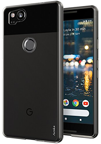 Google Pixel 2 Case, Aeska Ultra [Slim Thin] Flexible TPU Gel Rubber Soft Skin Silicone Protective Case Cover for Google Pixel 2 (Smoke Black)