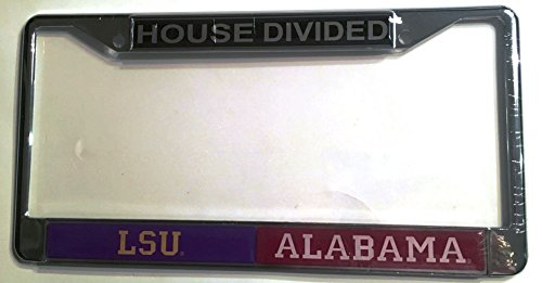 LSU Tigers - Alabama Crimson Tide House Divided Car Tag License Frame -