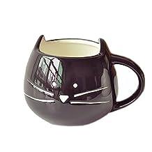 EchoAcc® Lovely Animal Cat Ceramic Porcelain Cute Cup Mug for Coffee/Tea/Espresso/Milk/Water (Black)