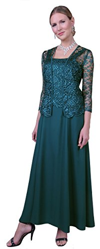 Womens Long Mother of The Bride Evening Formal Lace Dress with Jacket (Medium, Teal)