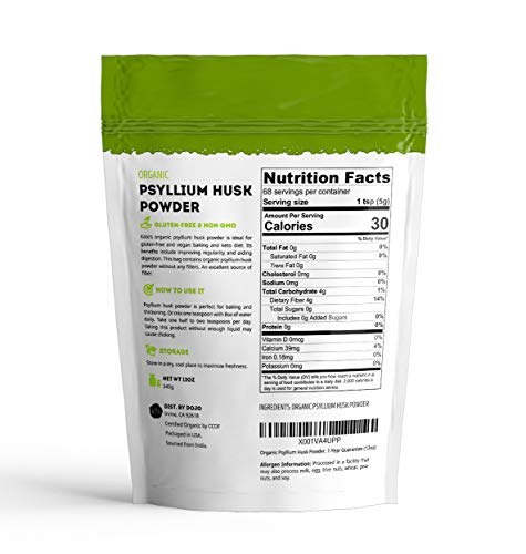 Psyllium Husk Powder Organic by Kate Naturals. Perfect for Baking, Keto Bread and Consuming With Water. Fine Grind. Gluten-Free & Non-GMO. Large Resealable Bag. 1-Year Guarantee (12oz). 2