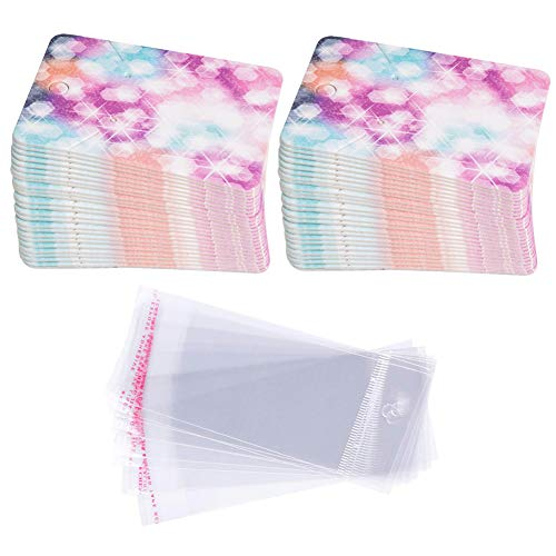Earring Cards Set, 100 Pcs Paper Earring Display Cards with 100 Pcs Self-Seal Bags, Fashion Colorful Card Holder Organizer Tags DIY Handmade Packing Cards for Earring Stud Necklace (Starry) -