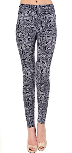 VIV Collection Plus Size Printed Leggings (Whirly Paisley)