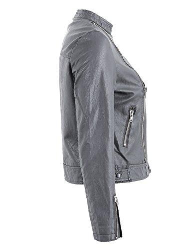 De Revers Simplee Faux Motard Gris Ferme Digne Tenue Les Extérieur Slim Cuir Vêtements Femmes Veste La qvE0Ba