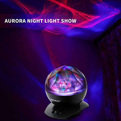[Upgraded Version] SOAIY Soothing Aurora LED Night Light Projector with UL Certified Adapter,Timer,Remote,Music Speaker,8 Lighting Modes,Relaxing Light Show,Mood Lamp for Baby Kids, Adults,Living Room
