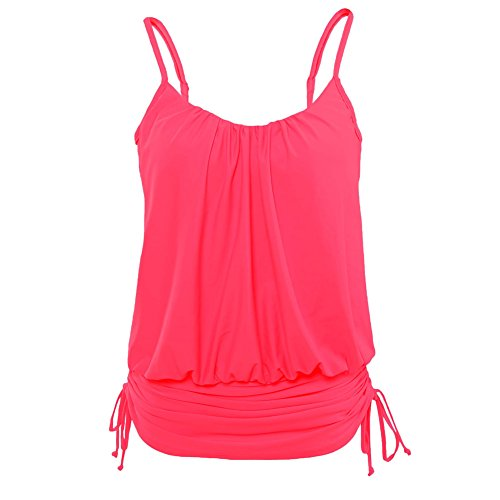 GERGER BO Monthers' Day Spaghetti Strap Tankini Swim Top(Rosy,L) (Mad Hatter Coustume)
