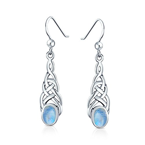 Gemstone Love Knot Moonstone Celtic Knot Dangle Earrings For Women For Teen Fish Hook 925 Sterling Silver