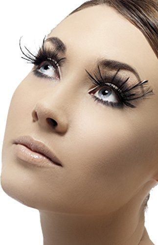 Smiffy's Fever Women's Eyelashes, Black with Feather Plumes, Contains Glue, One Size, 34983