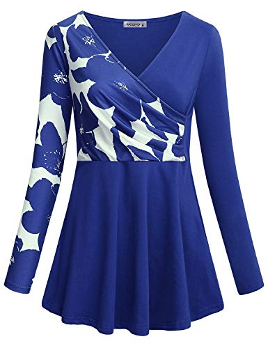 MOQIVGI Boutique Shirts for Women,Business Attire Semi Formal Modern Fit Office Tops Empire Waist Surplice Wrap Tunic Long Sleeve Floral Splice Blouses Contemporary Designer Clothing Blue ()