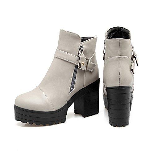 YE Damen Blockabsatz Ankle Boots Stiefeletten High Heels Plateau mit  Schnallen und Reißverschluss Elegant Schuhe Grau ... 07d4ae5594