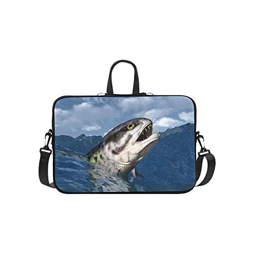 Large 3D of Giant Bone Fish Pattern Briefcase Laptop Bag Messenger Shoulder Work Bag Crossbody Handbag for Business Travelling