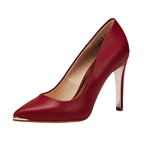 JENN ARDOR Women's Closed Pointed Toe Pumps Stiletto High Heels Office Lady Wedding Party Dress Heeded Shoes Red 6.5 (9.2in)