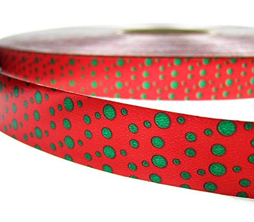 - 10 Yards Xmas Theme Red Green Scattered Polka Dot Acetate Ribbon 3/4