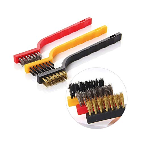 ALOUD CREATIONS Plastic Gas Stove Cleaning Wire Brush Kitchen Tools Metal Fiber Strong decontamination, in-Depth Small Gaps Clean - (Multicolour) Set of 3