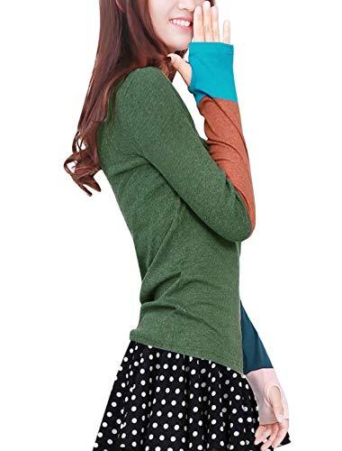 Jeune Femme Elgante Printemps Haut Manches Trous Col Confortable Festives Rond Blouse Shirt Tee Longues Fit Mode Manches Splicing Dsinvolte Grau Costume Automne Slim Chic Long Tops Mode qAHEw5A