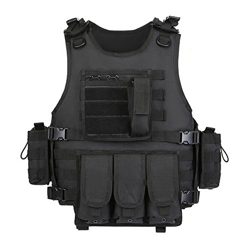 Swat Tactical Vest Costume (GZ XINXING Black Tactical Airsoft Paintball Combat Military Swat Assault Army Shooting Hunting Outdoor Molle Vest)