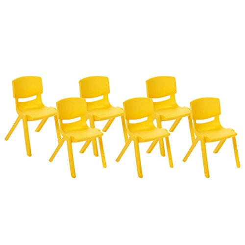 - ECR4Kids School Stack Resin Chair, Indoor/Outdoor Plastic Stacking Chairs for Kids, 14 inch Seat Height, Yellow (6-Pack)
