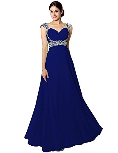 (Sarahbridal Seniors Prom Dresses Long 2019 Chiffon Ball Bridesmaid Gowns Beading Royal Blue US16)