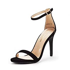 Open-toe heels are designed in smooth vegan leather and feature a wide single toe strap, exposed sides, and an adjustable buckled ankle strap. Finished with a stiletto heel and a ridged sole.