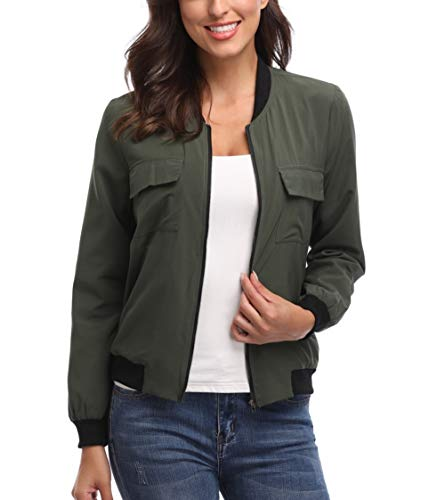 MISS MOLY Jackets for Women Lightweight Bomber Jacket Zip up Long Sleeve Biker Motorcycle Outfit with Pockets Army Green-Small