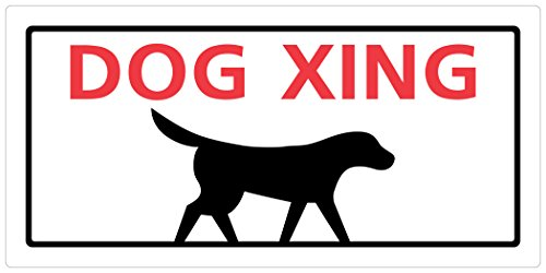 Hillman 848605 Dog Xing  Sign, White, Red and Black Plastic,