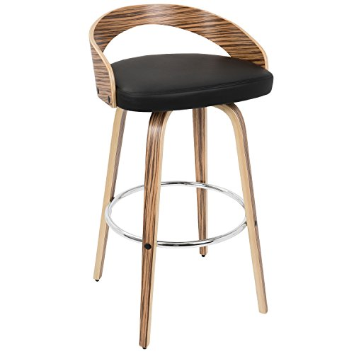 WOYBR BS-JY-GRT ZB+BK Pu Leather, Bent Wood Grotto Barstool Review