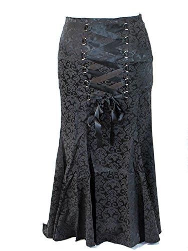 Plus Size Jacquard Gothic Vampire Long Black Satin Ribbon Corset Fishtail Skirt (4X)