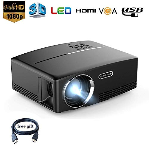 Dinly 1500 Lumens Projector with HDMI Cable Support 1080P Portable Video Projector for Home Cinema Theater DVD PC PS4 and Xbox One