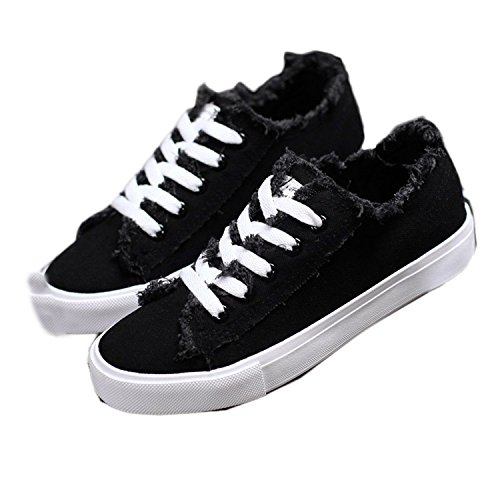 Better Annie New Spring New Canvas Shoes Woman Fashion Lace Up White Shoes Woman Flats For Lady's Size Black 6.5