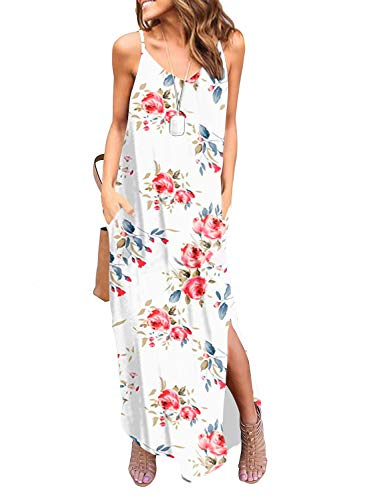 HUSKARY Women's Summer Casual Sleeveless V Neck Strappy Split Loose Dress Beach Cover Up Long Cami Maxi Dresses with Pocket White Red (Summer Shirt Dresses For Women)
