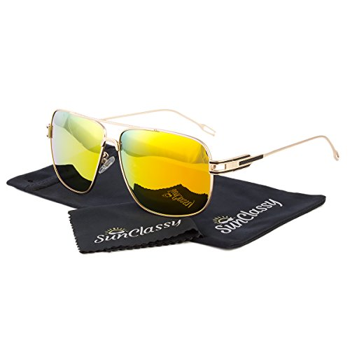 POLARIZED Driving & Sports Clear Vision Mirror Lens Sunglasses By Sunclassy – Impact Resistance Lenses FDA Approved 100% Block Of UVA, UVB & UVC Rays Comfortable Durable (Gold - For Stylish Goggles Men