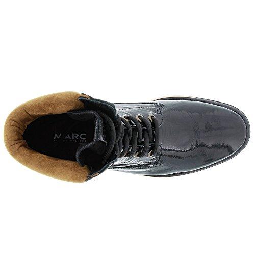 Schnürboot Damen Fabienne Black Shoes Marc Combi Lackleder Schwarz wI1xa5q