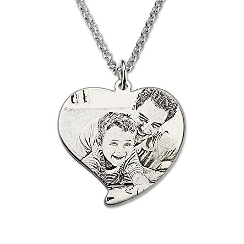 - bilingoa Photo Engraved Heart Necklace Sterling Silver Personalized Portrait Picture Heart Photo Charm Gift for Her
