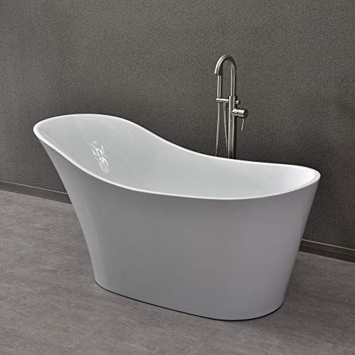 "WOODBRIDGE Freestanding Bathtub with Chrome Overflow and Drain, 59"" B-0029"
